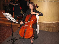 cellist performing at the foyer