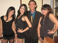 Jason Geh with the dancers at the backstage