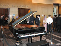 An image of the grand piano outside the main ballroom