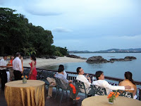 Some of the guests enjoying the view at the balcony of Captain's Grill where the wedding dinner is held