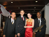 Jason Geh, the band manager with newlyweds Alban and Samantha
