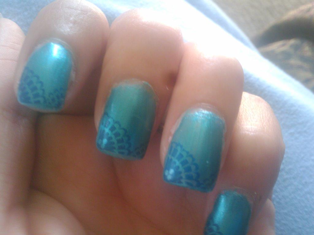 Light Blue Leopard Nail Design
