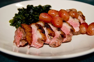Spice-Rubbed Duck W/ Roasted Grapes & Kale