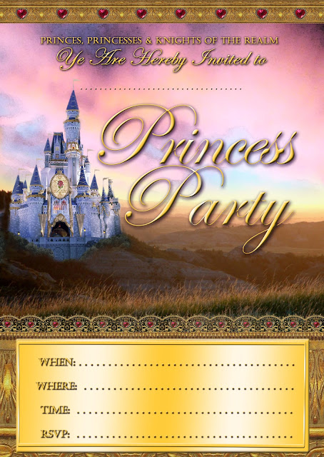 Princess Party free Printable Invitation with Castle