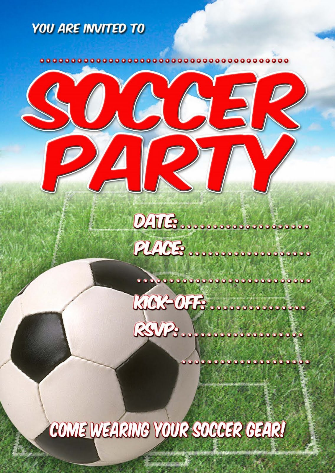 FREE Kids Party Invitations: Soccer Party Invitation