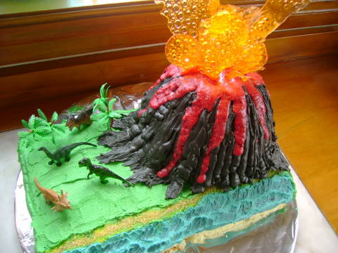 Volcano Birthday Cake Images : Great Fun etc: Dinosaur Adventure Party with Volcano Cake