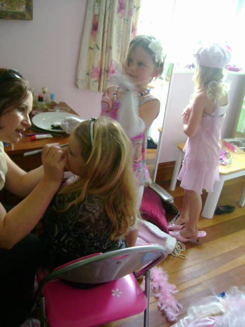 Fancy Nancy Party - getting makeup