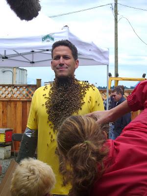 Bob Blumer's bee beard at the Honey Bee Festival