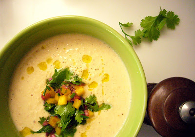 Raw Summer Corn Chowder with Fresh Salsa