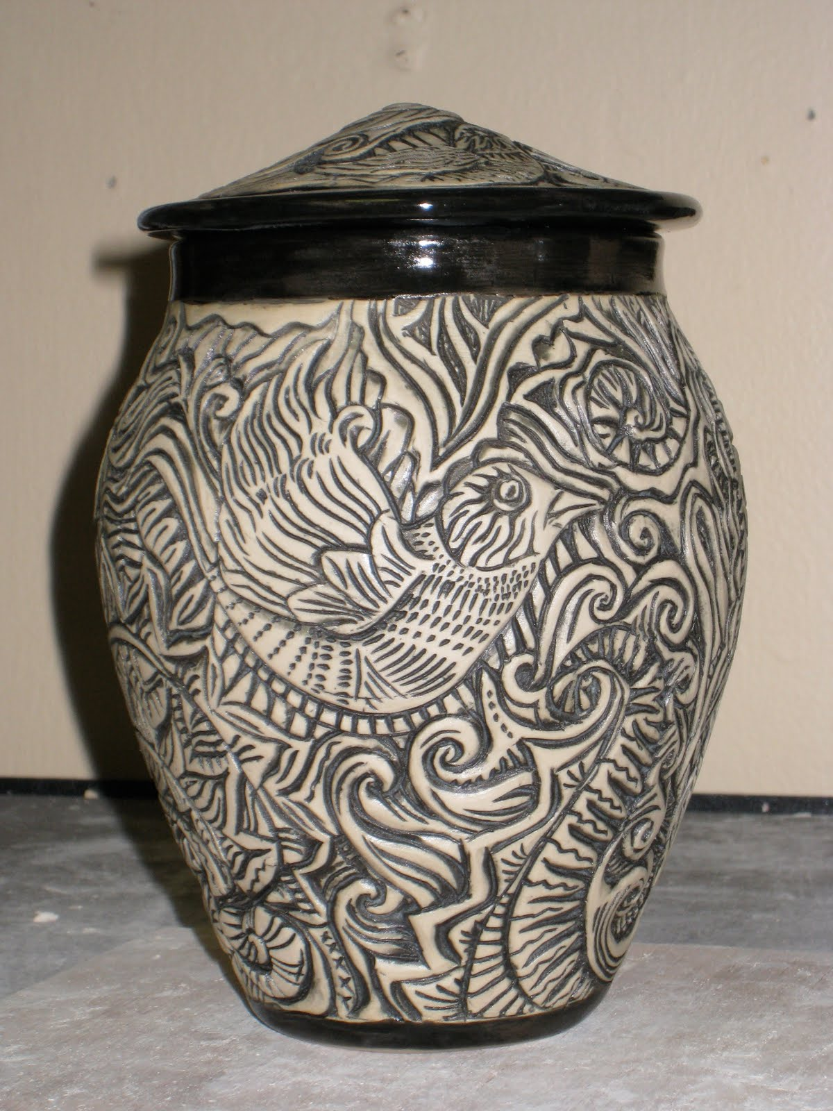 Randi martin kish ceramics carved jars and cups birds