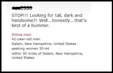 funny match.com headline