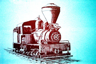 old style train caricature for travelling in train from reus to barcelona