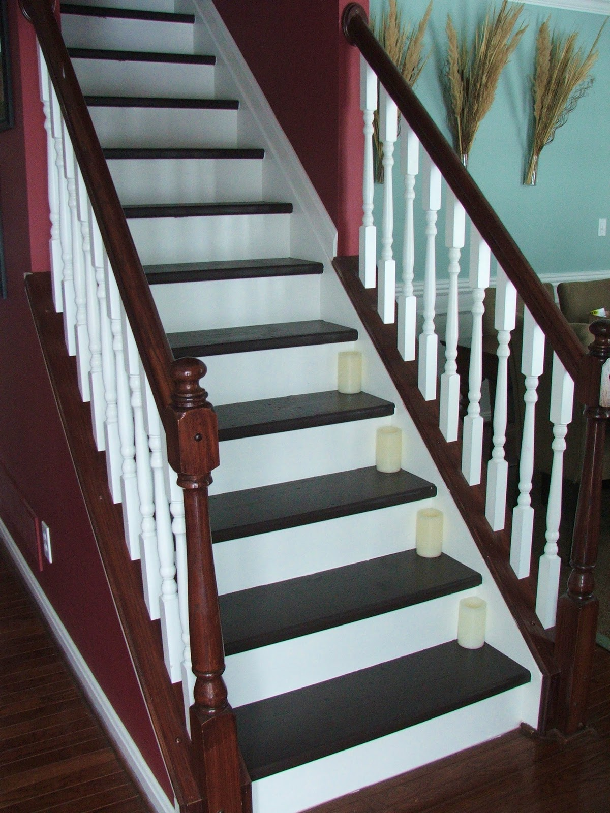 Remodelaholic under 100 carpeted stair to wooden tread for Diy staircase makeover
