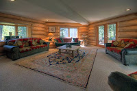 Image of Alpine Meadows custom log home living room