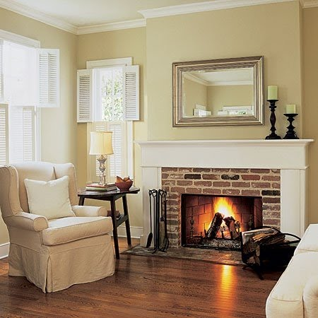 Mirian Decor Lareiras Casa De Campo: color ideas for living room with brick fireplace