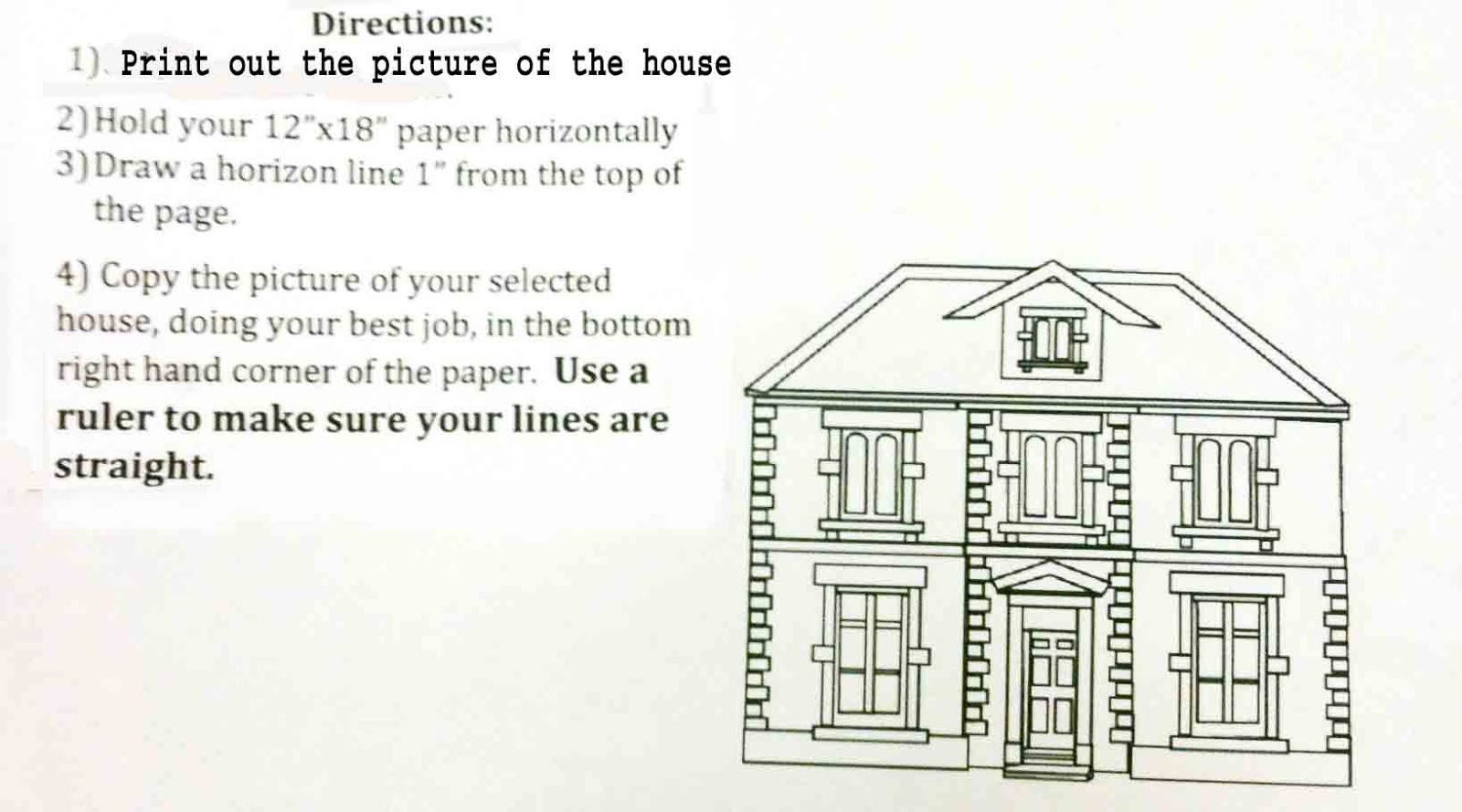 The Helpful Art Teacher Perspective Drawing 101Drawing a house – One Point Perspective Worksheet