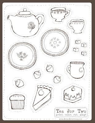 Hilaire image inside tea party printable