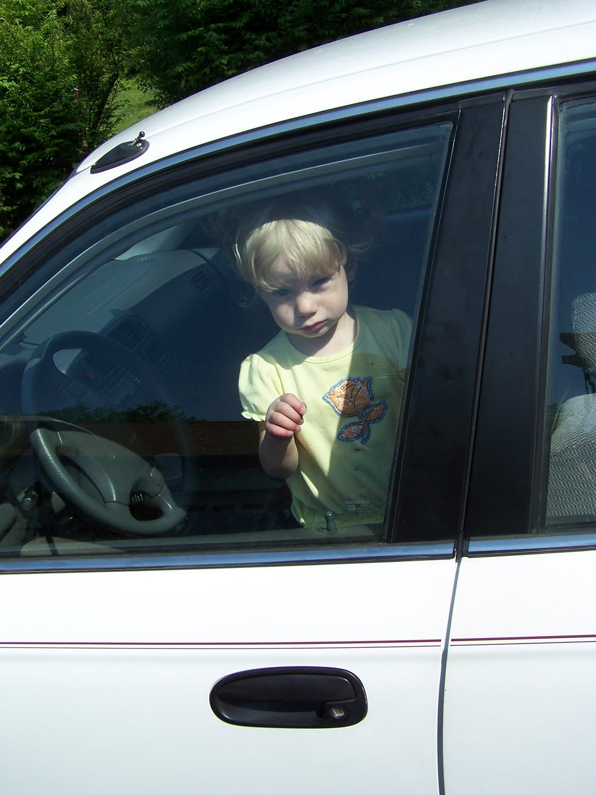 locked car. But Then I Saw Them, In The Back Window Where That Stupid Seat Lock Was. And My Baby Was Locked Inside Car! Car