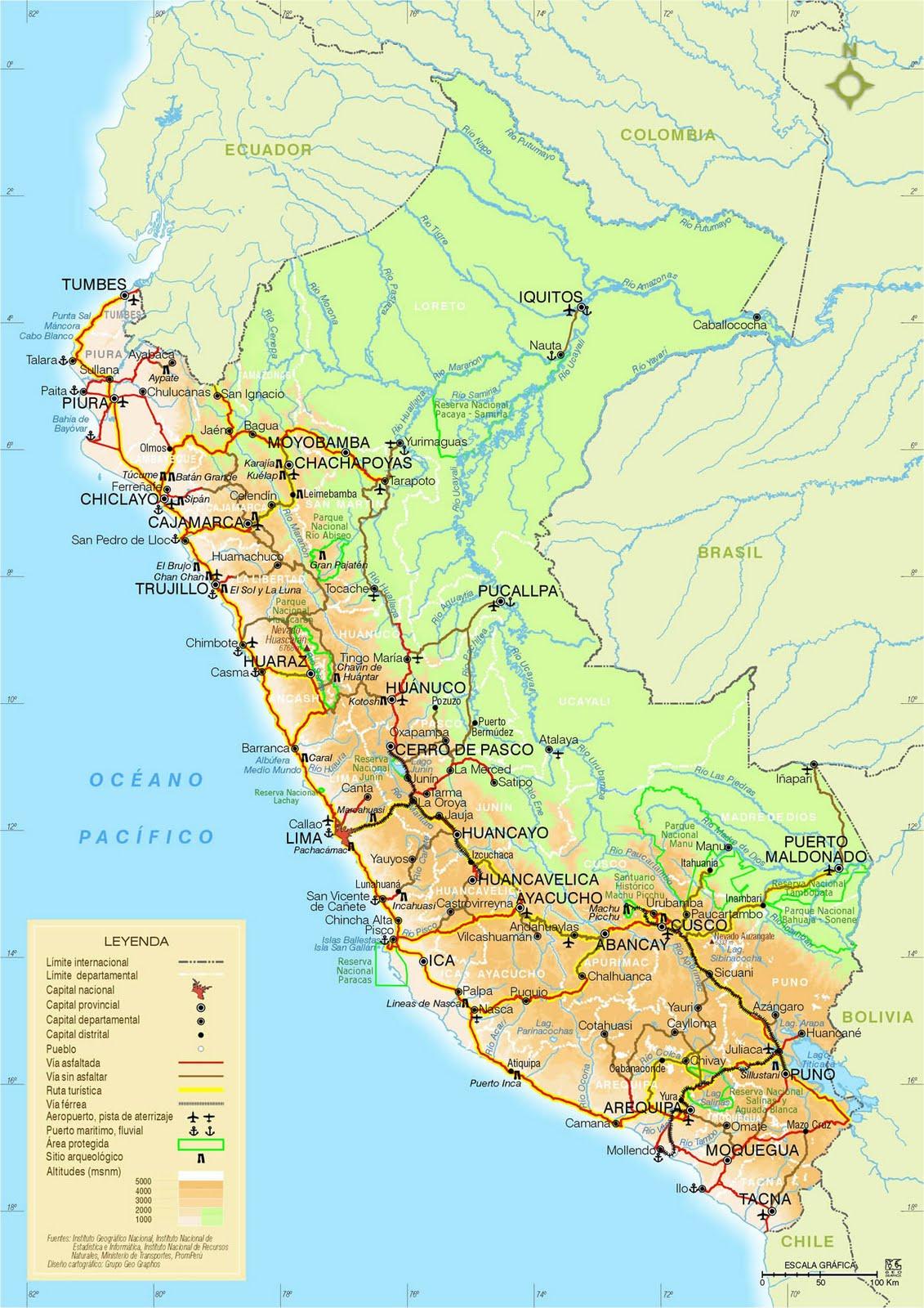 Pérou Carte Géographique
