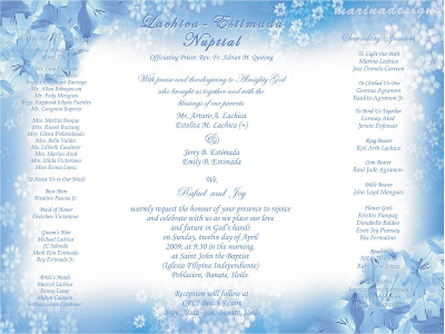 Sample of Wedding Entourage http://marinadesigns.blogspot.com/2009/06/wedding-invitation-designs-powder-blue.html