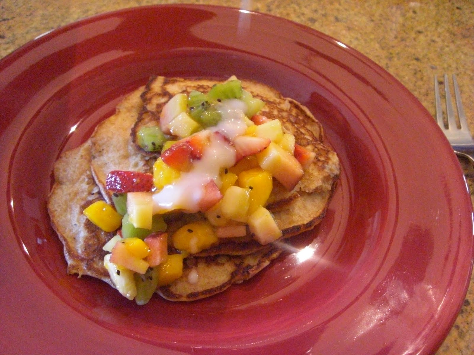 My life in food: Whole Wheat Pancakes with Coconut Syrup and Fruit