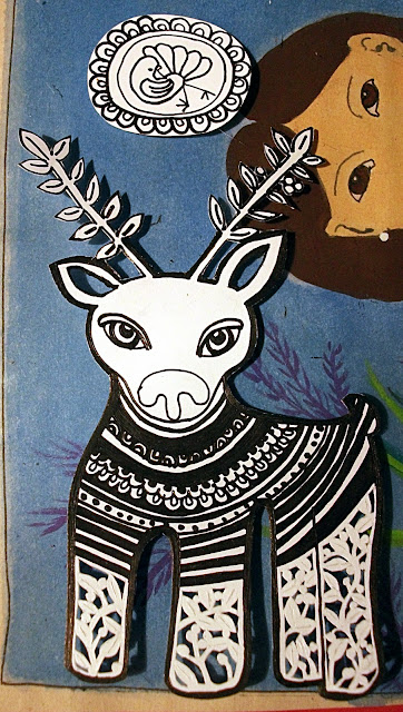 Original black and white drawing of a naive reindeer on the make, it can be used as wall or Christmas tree decoration