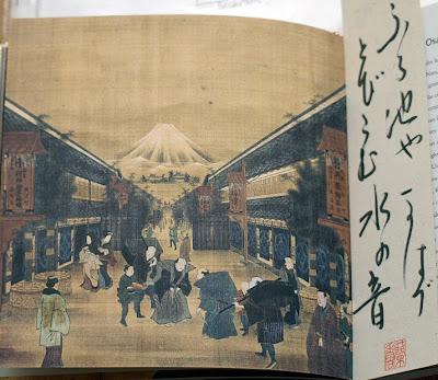 Monte Fuji con marcapáginas con haiku de Basho caligrafiado a mano