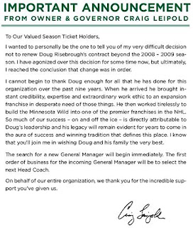 Minnesota Wild Owner Craig Leipold releases Doug Risebrough