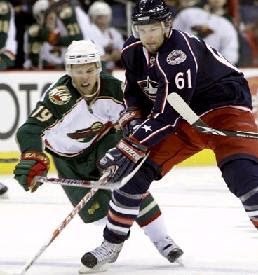 Wild vs Blue Jackets on the ice at Monday's game