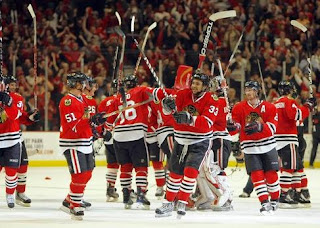 The Chicago Blackhawks celebrating the Stanley Cup Victory