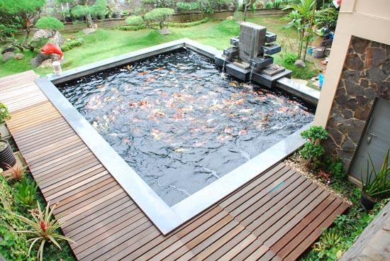 taman dalam rumah membena sebuah kolam ikan bepancuran air