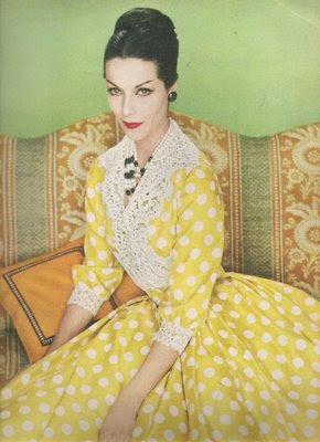 Vogue 1959 Yellow polka dot dress