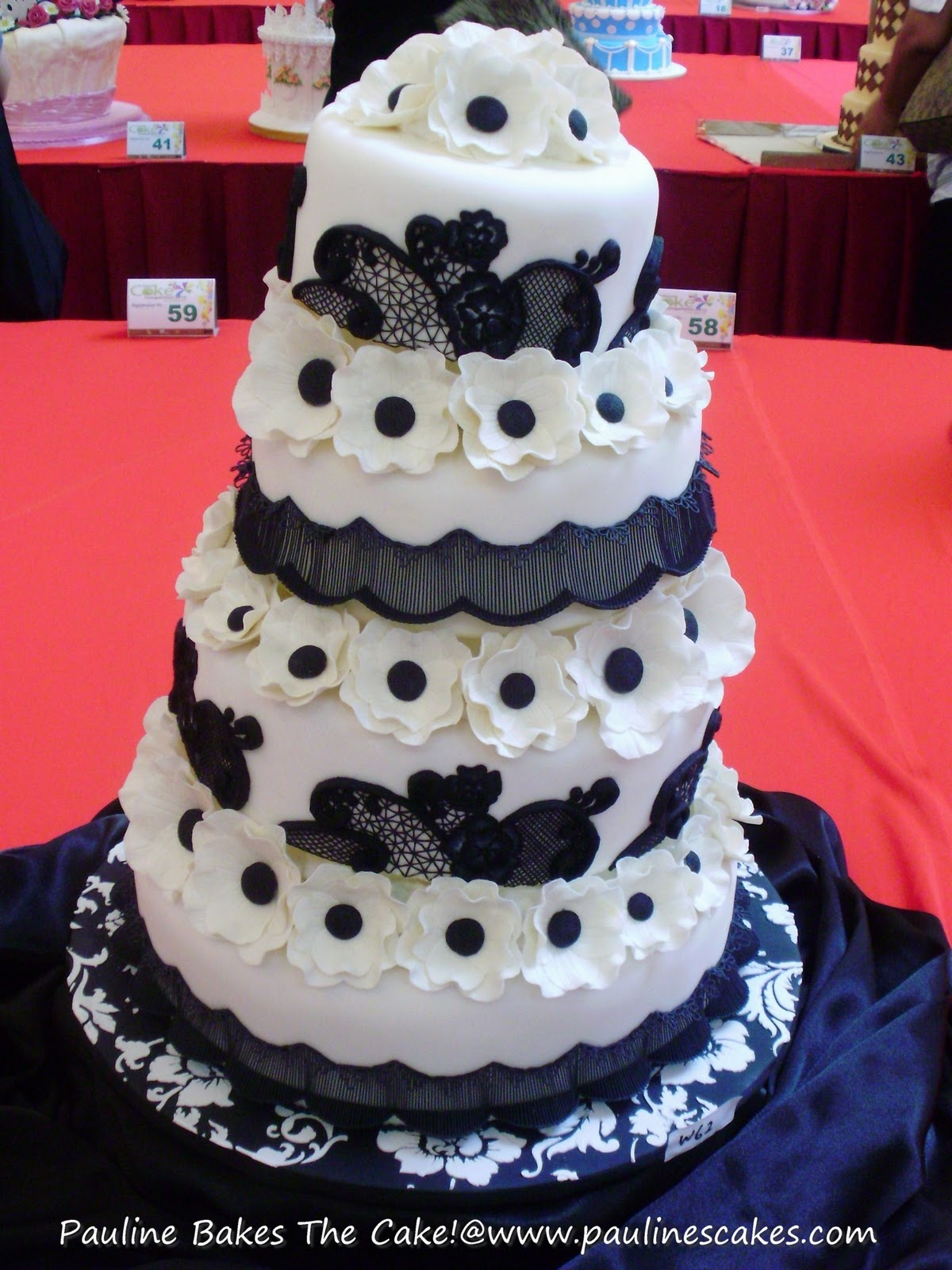 "PAULINE BAKES THE CAKE ""Black Lace"" Wedding Cake Entry"