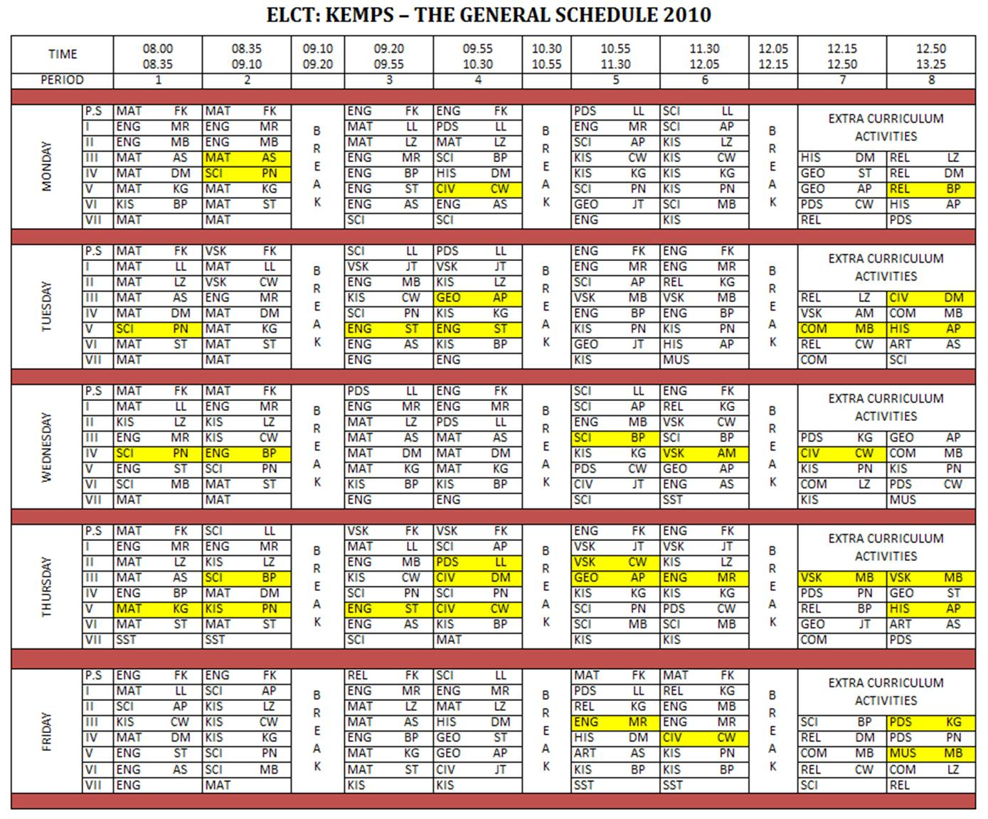timetable ma st k er life in tanzania