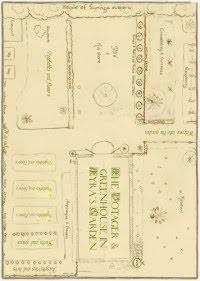 Le POTAGER  - skiss över köksträdgården och växthuset