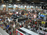 A birds eye view of the Hy-Vee Hall full of exhibitors for Deer Huntresses and Hunters to locate their favorite products to create a positive hunting experience.