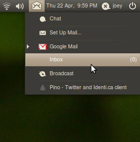 Gmail on Messaging Menu