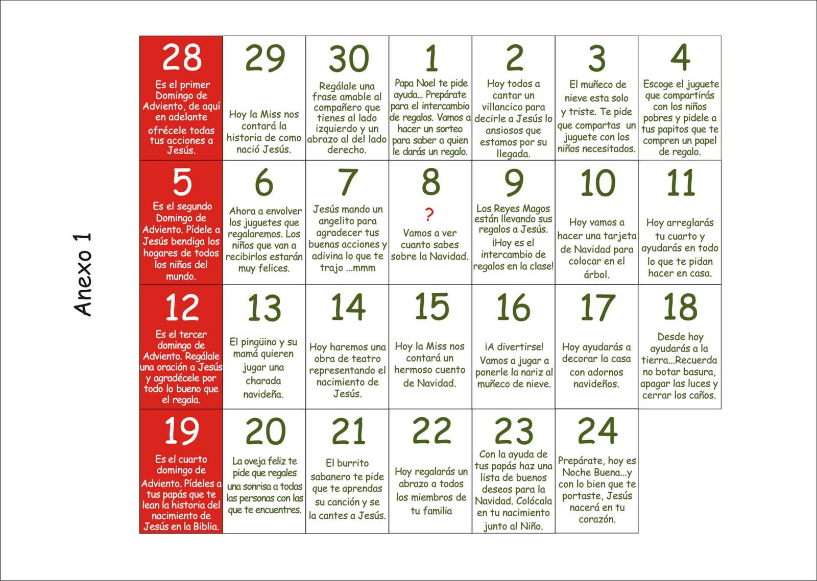 Taller de navidad cuento y cuento con el calendario de for Calendario adviento ninos