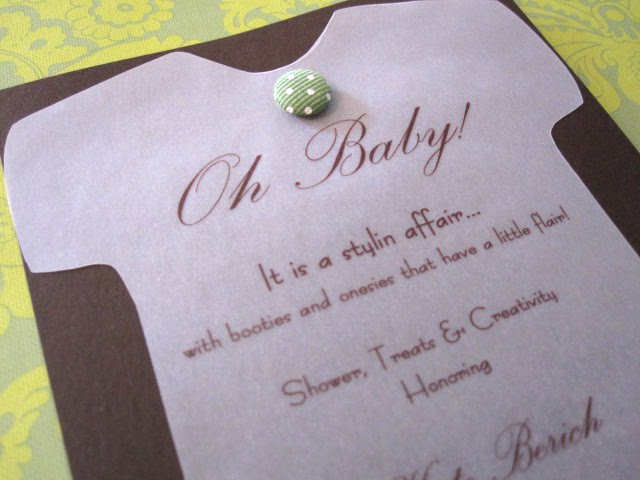 Snapsuit decorating baby shower handmade invitations