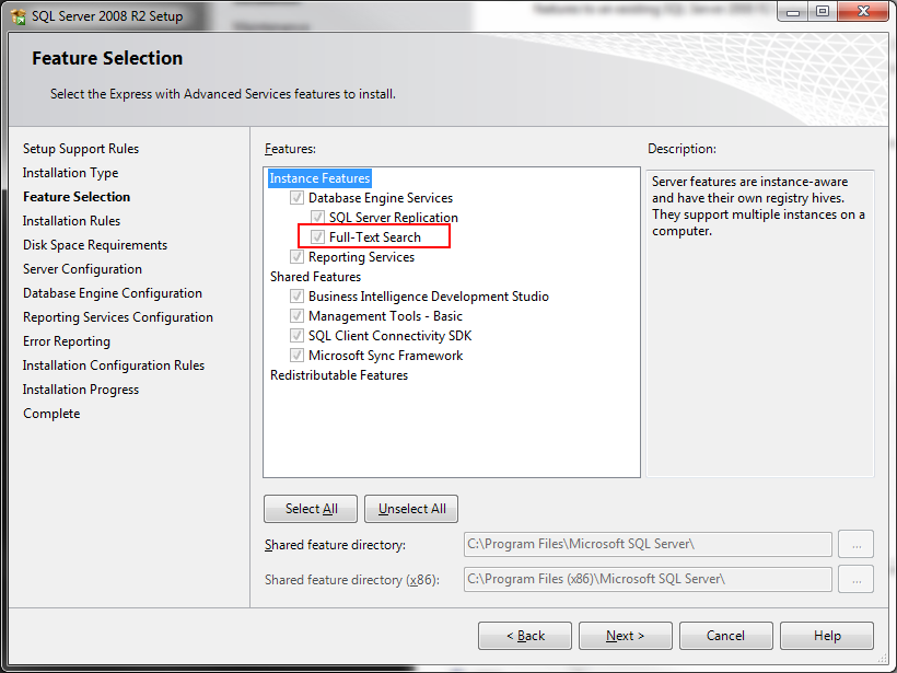 Adam millers blog code fulltext search in sql server 2008 express in order to do full text search in sql server 2008 express original or r2 you have to install the advanced services you can find the download for sciox Gallery