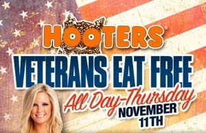 Hooters Offers Free Meal for Military on Memorial Day This Memorial Day, all veterans and active duty military personnel can enjoy a free entrée at Hooters. Select Service.
