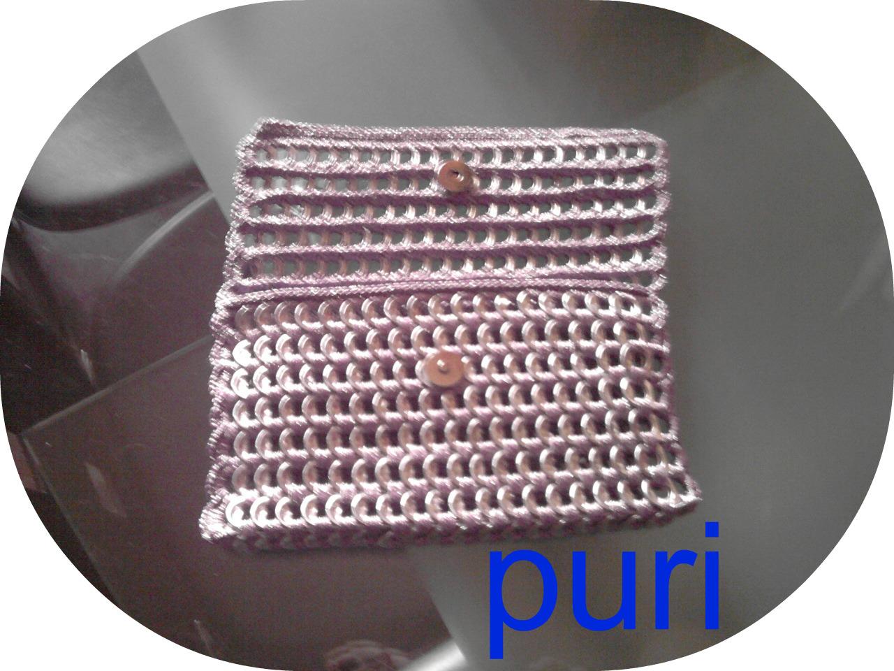 CROCHET Y PUNTO A MI MANERA: Bolso de anillas de refrescos y ganchillo