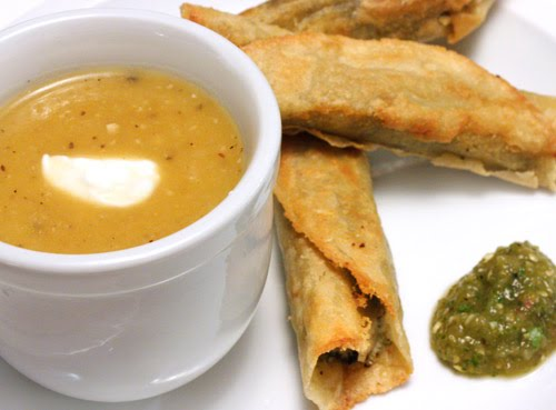 is cooking: Roasted Pumpkin Soup, Cheese Flautas with Cilantro Pesto ...
