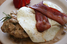 Biscuits, Rosemary Gravy, Eggs, & Bacon