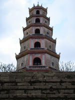 Thien Mu Pagoda in Hue, Vietnam. Multi-tiered, with an octagonal base.
