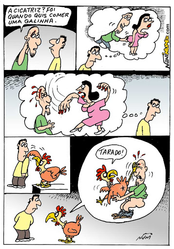 Cartum do dia: Como se ganha uma cicatriz comendo uma galinha