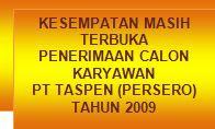 Lowongan kerja PT. Taspen (Persero) 2009