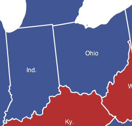 Blue Indiana and Ohio