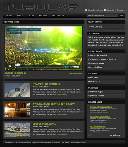 Studiopress Tubular wordpress Theme