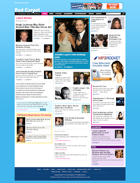 Celebrity Magazine Style Red Carpet  WordPress Theme